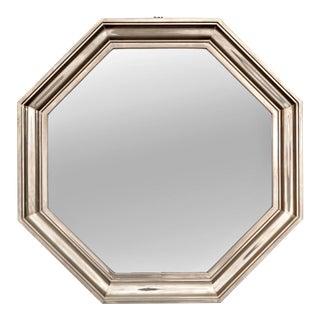 Art Deco Silver Metallic Octagonal Wall Mirror For Sale
