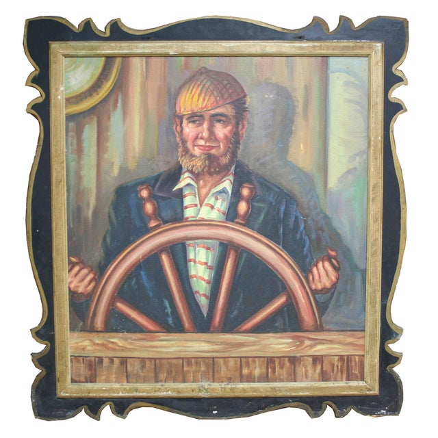 Salvaged Carousel Panel with Captain - Image 1 of 2