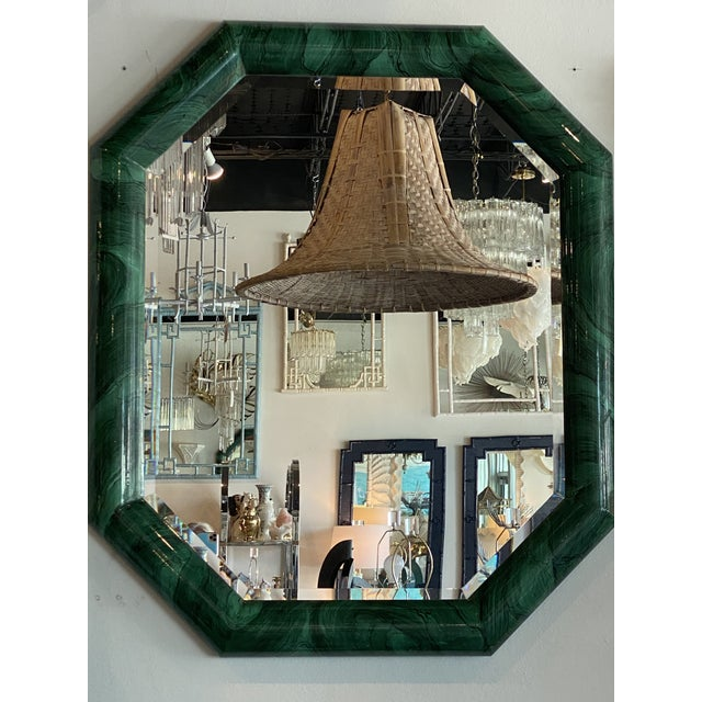 Green Vintage Large Green Faux Malachite Vertical or Horizontal Octagon Wall Mirror For Sale - Image 8 of 13