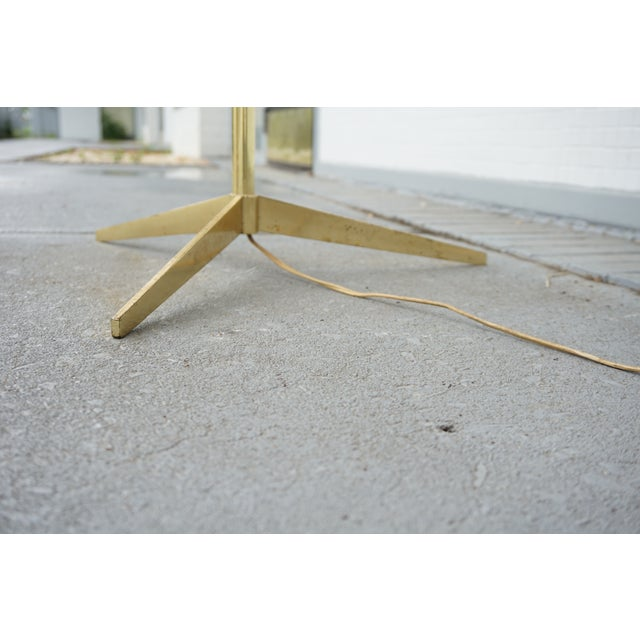 Vintage Mid-Century Paul McCobb Style Brass Floor Lamp Table For Sale - Image 10 of 11