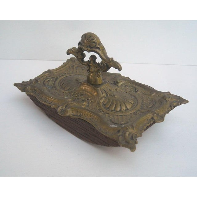 Antique French Ornate Brass Ink Blotter - Image 4 of 6