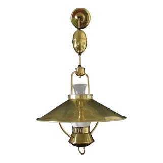 1950s Mid-Century Western Brass Adjustable Retractable Pull Down Chandelier Hanging Light