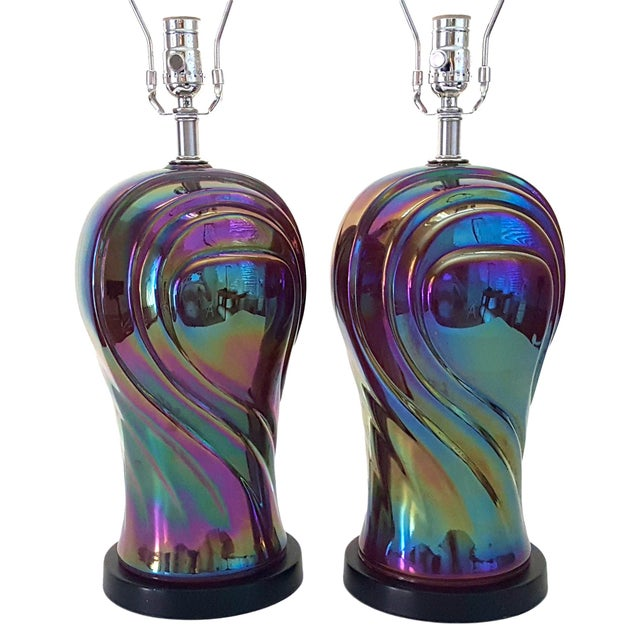 Vintage American Art Deco Revival Streamline Modern Iridescent Carnival Glass Lamps - a Pair For Sale - Image 9 of 13