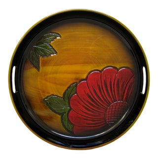 Japanese Round Lacquered Tray For Sale
