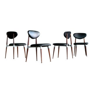 Dan Johnson Four Dining Chairs in Walnut and Aluminum for Shelby Williams For Sale