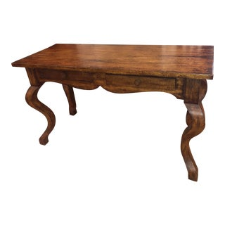 Charles Pollock for William Switzer French Country Rustic Console Table W Cabriolet Legs For Sale