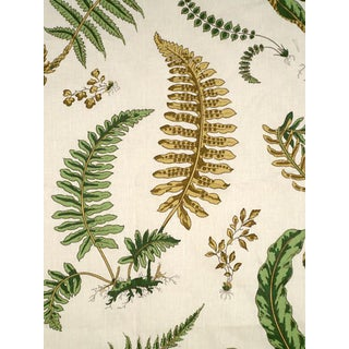 Sample, Scalamandre Elsie De Wolfe, Greens on Off White Fabric For Sale
