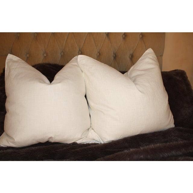 Large Belgium Cream Linen European Pillows - a Pair - Image 3 of 6