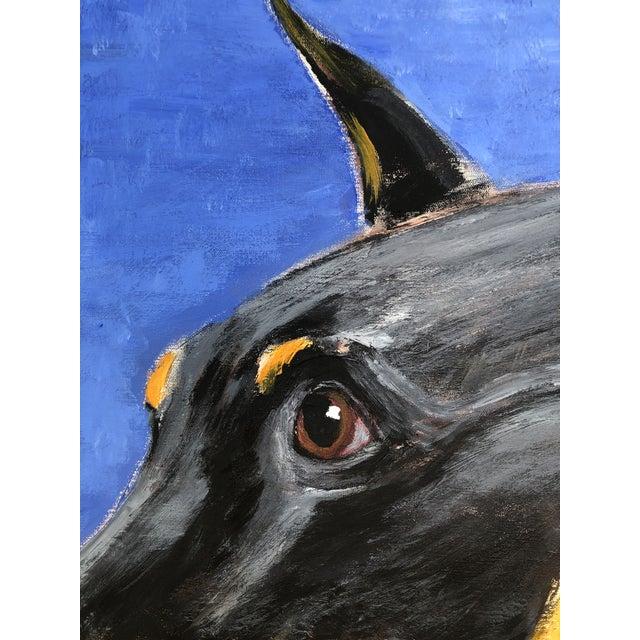 Large Contemporary Doberman Pincher Original Dog Portrait Painting Signed For Sale - Image 4 of 7