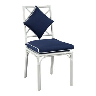 Haven Outdoor Dining Chair, Canvas Navy with Canvas White Welt For Sale
