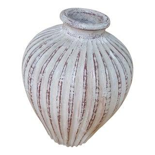 Large Ceramic Ridged Vase For Sale