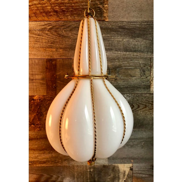 Metal Mid-Century Murano Caged Glass Lantern Pendant Swag Light For Sale - Image 7 of 7