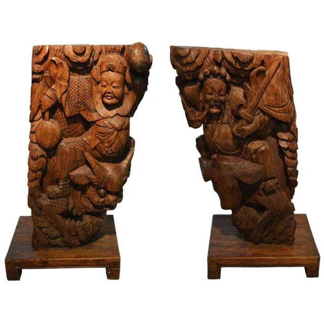Pair of Antique Hand-Carved Wood Temple Corbels From China, 19th Century For Sale - Image 11 of 11