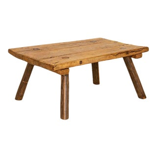 Rustic Vintage Slab Plank Coffee Table With Splay Peg Legs For Sale