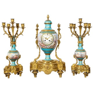 Exceptional French Ormolu-Mounted Turquoise Jeweled Sevres Porcelain Clock Set For Sale