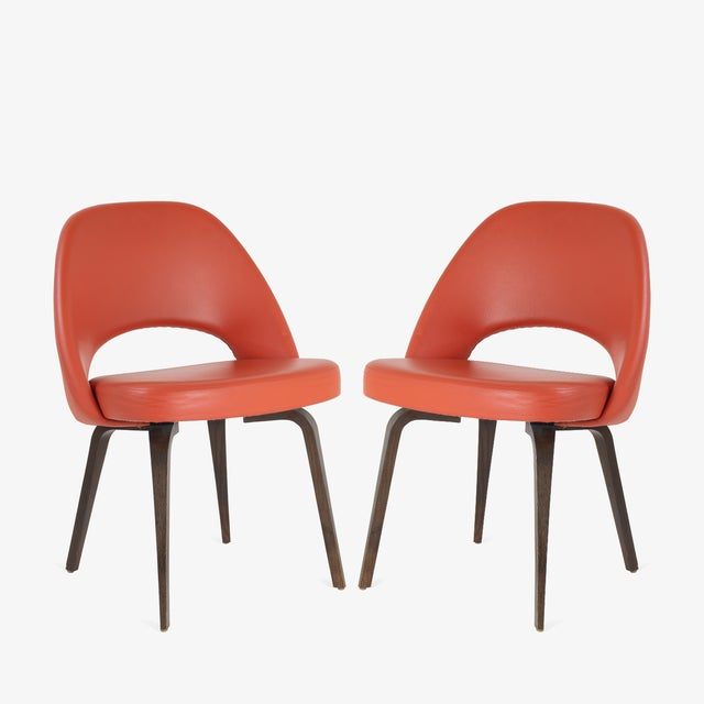 Burnt Orange Saarinen Executive Armless Chairs in Burnt Orange Leather and Walnut Legs, Pair For Sale - Image 8 of 8
