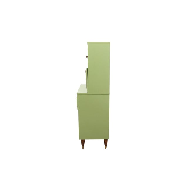 Americana Mid Century Modern Cabinet in Green For Sale - Image 3 of 8