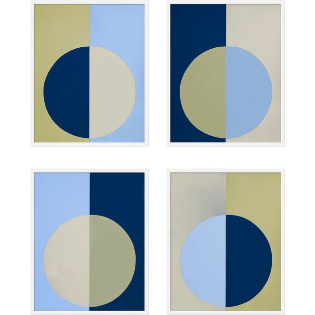 "Contemporary Medium ""Blue and Olive Forever, Set of 4"" Print by Stephanie Henderson, 32"" X 40"" For Sale - Image 3 of 3"