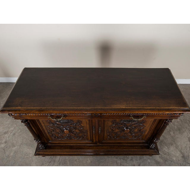 Antique French Henri II Style Walnut Buffet circa 1875 For Sale - Image 10 of 11