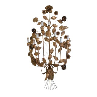 French Florentine Tole Wall Sconce Sculpture Chandelier For Sale