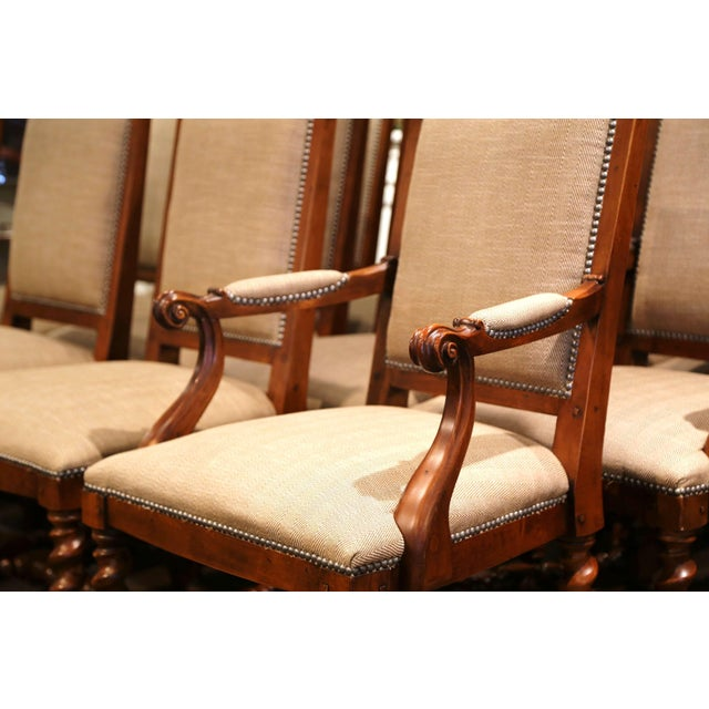 Beige Suite of Twelve Carved Walnut Chairs From Ralph Lauren With Chenille and Leather For Sale - Image 8 of 13