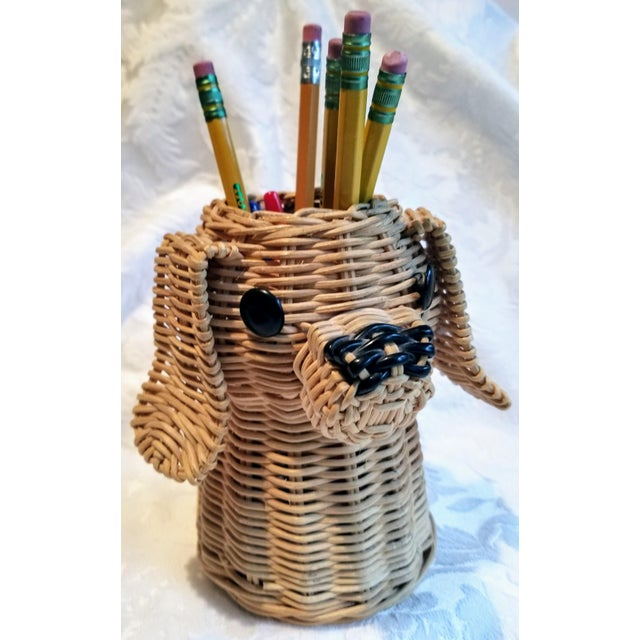 Mid-Century Wicker Dog Desk Pencil Holder For Sale - Image 4 of 5