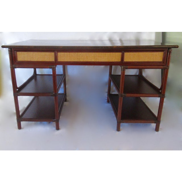 A newly consigned piece from the late 1960s-early 70's is this gorgeous; British Colonial or Island-style, writing desk,...