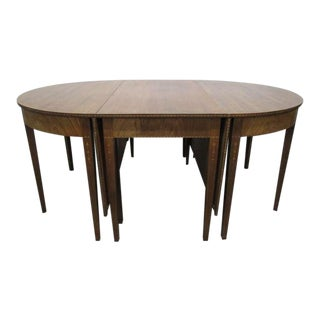 Hepplewhite Style Inlaid, Demilune Three-Part Banquet Dining Table For Sale