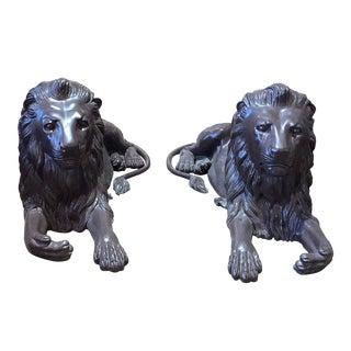 Recumbent Bronze Lion Statues - A Pair For Sale