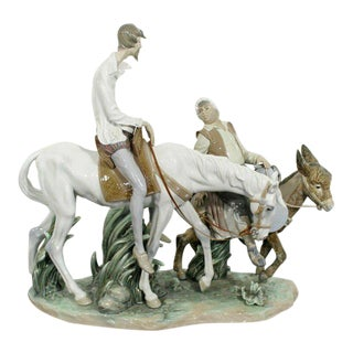 Porcelain Don Quixote Table Sculpture Signed Lladro Spain, 1970s For Sale
