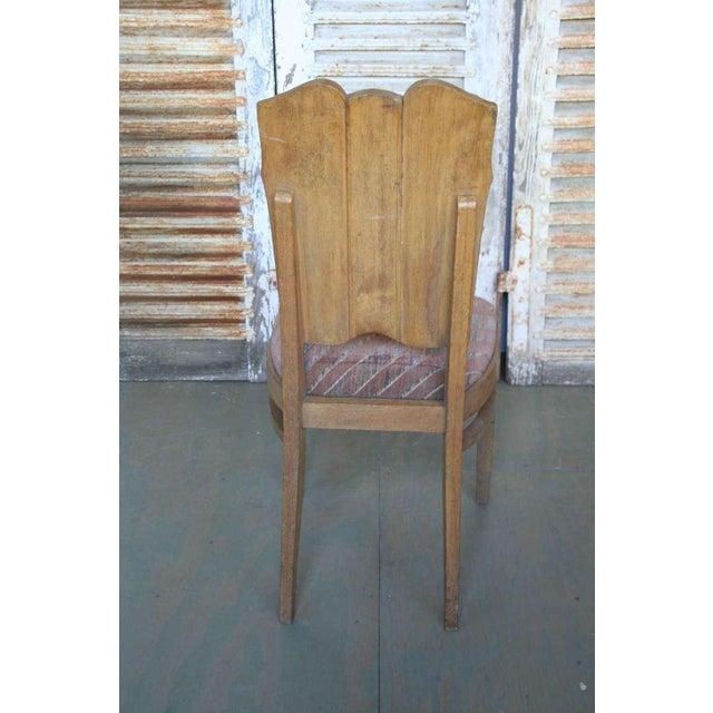 Set of Six Linen Fold Oak Side Chairs - Image 6 of 8