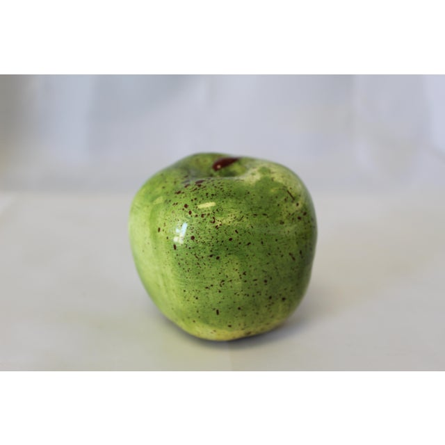 Early 21st Century Italian Ceramic Green Apple For Sale - Image 5 of 5
