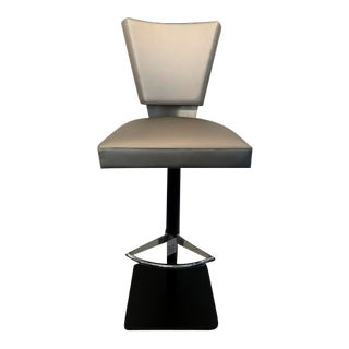 Contemporary Mixed Metal Grey Upholstered Adjustable Barstool For Sale