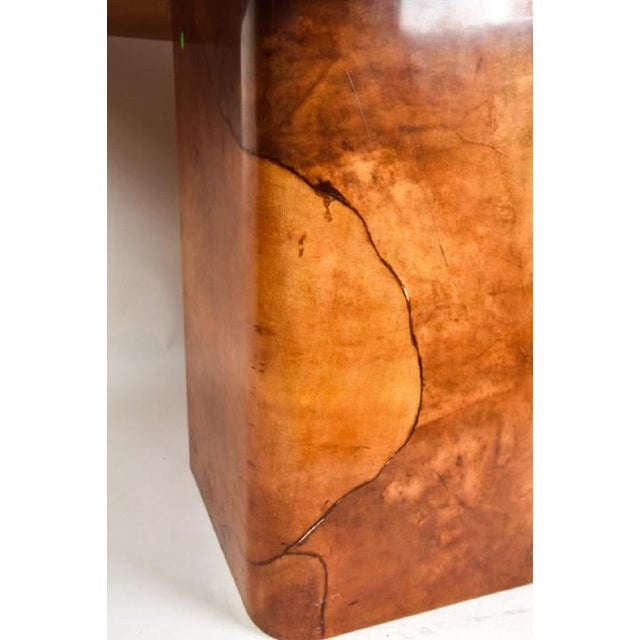 1970s Faux Goatskin Dining Table by Karl Springer. For Sale - Image 5 of 8