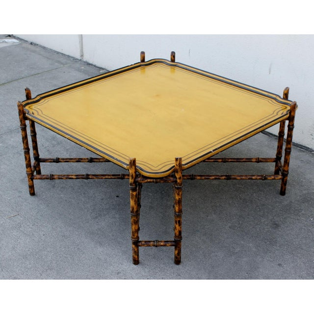Hollywood Regency Baker Furniture Faux Bamboo Coffee Table For Sale - Image 3 of 7