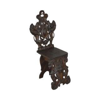 Italian Renaissance Antique Carved Lion Walnut Hall Chair For Sale