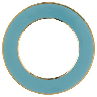 """Schubert"" Charger in Turquoise & Narrow Gold Rim by Augarten For Sale"