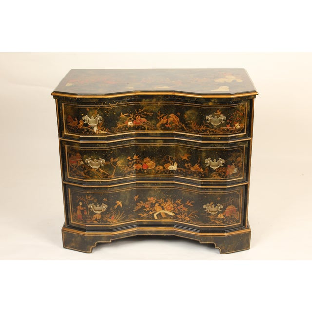 George II style chinoiserie decorated chest of drawers. Made by Maitland Smith, circa 2000.
