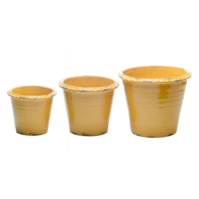 A set of three graduated garden pots nested and sold as one unit. A great yellow color has been used as glaze and the...