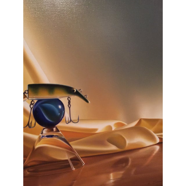 """Michael Zigmond """"Fish Bowl (The Lure of the Martini) Painting - Image 4 of 8"""