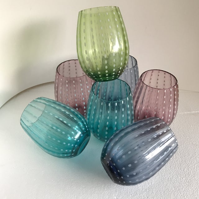 Stemless Colorful Wine Glasses - Set of 7 - Image 7 of 10