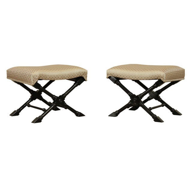 Regency Style Black Lacquered Pair X Benches For Sale - Image 13 of 13