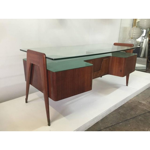 Brass Rosewood Desk by Paolo Buffa with Floating Glass Top For Sale - Image 7 of 9