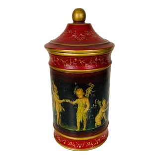 Vintage Italian Decoupage Canister For Sale