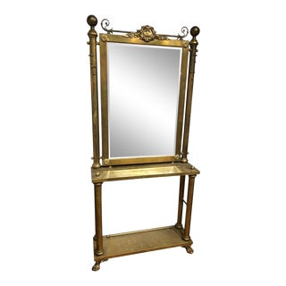 19th Century Neoclassical Brass Console and Mirror For Sale