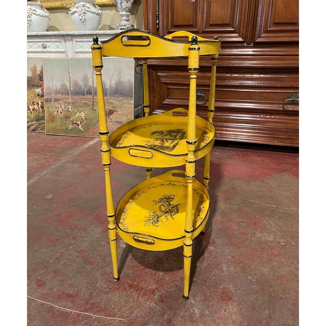 French Mid-Century French Hand Painted Three-Tier Tole Side Table For Sale - Image 3 of 9