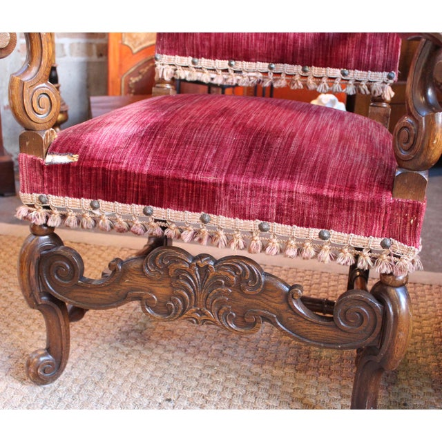 Louis XIV Style Carved Oak Arm Chairs - A Pair For Sale - Image 5 of 9