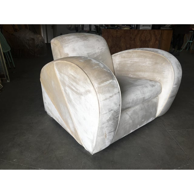 Art Deco Pearl White Mohair Jazz Club Chair W/ Speed Arms For Sale In Los Angeles - Image 6 of 11