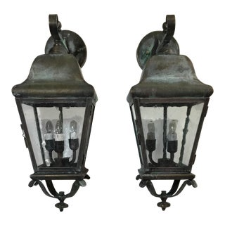 Industrial Hand Crafted Solid Brass Lanterns - a Pair