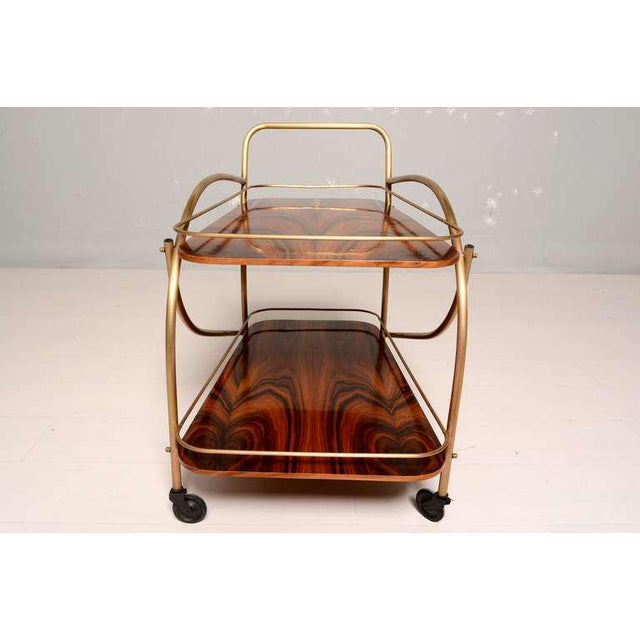 Gold Brazilian Rosewood Double Deck Service Cart For Sale - Image 8 of 10